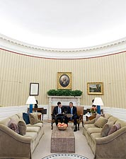 President Obama with Speechwriter in Oval Office Photo Print for Sale