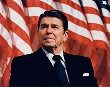 President Ronald Reagan Patriotic Portrait Photo Print for Sale