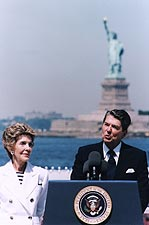 President Ronald Reagan Statue of Liberty Photo Print for Sale