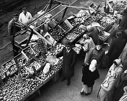 Push Cart Market in 1962 Brooklyn, New York  Photo Print