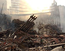 Rescue Worker Among Ruins 9/11 Photo Print for Sale