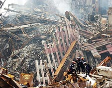Rescue Workers Among Rubble at Ground Zero 9/11  Photo Print for Sale