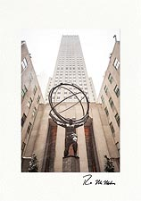 Rockefeller Center Atlas in the Snow Personalized NYC Christmas Cards
