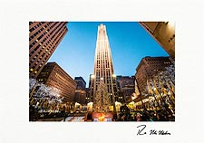 Rockefeller Center Sunset Christmas Tree Personalized Christmas Cards