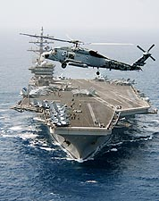 SH-60F Sea Hawk Helicopter & USS Dwight D. Eisenhower Photo Print for Sale