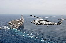 SH-60F Sea Hawk Helicopter w/ USS Dwight D. Eisenhower Photo Print for Sale