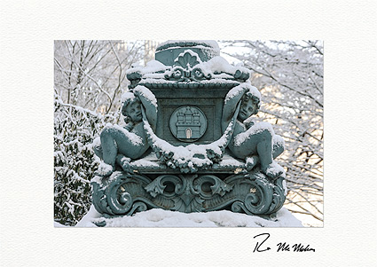 Snow Covered Cherubs, Central Park NYC Personalized Christmas Cards