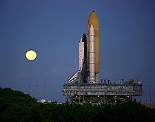 Space Shuttle Atlantis Full Moon Photo Print for Sale