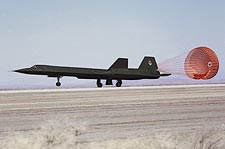 SR-71 Landing w/ Drag Chute Photo Print for Sale