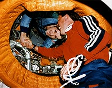 STS-71 Astronaut and Mir-18 Cosmonaut Space Photo Print for Sale