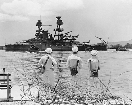 Three Sailors Looking at WWII Battleship Photo Print