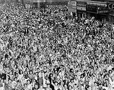 Times Square Crowd V-J Day New York City 1945 Photo Print for Sale