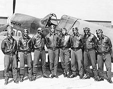 Tuskegee Airmen Posed w/ P-40 Warhawk WWII Photo Print for Sale