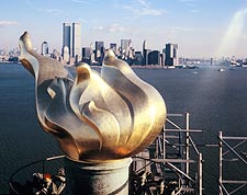 Twin Towers & Statue of Liberty, New York Photo Print for Sale