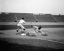 Ty Cobb of Detroit Tigers Sliding Into Third Base Photo Print for Sale