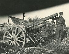 Unidentified Soldier Posing with Artillery WWI Photo Print for Sale