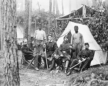Union Officers & African American Workers Civil War 1864 Photo Print