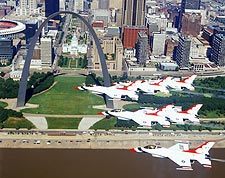 USAF Thunderbirds over St. Louis Photo Print for Sale
