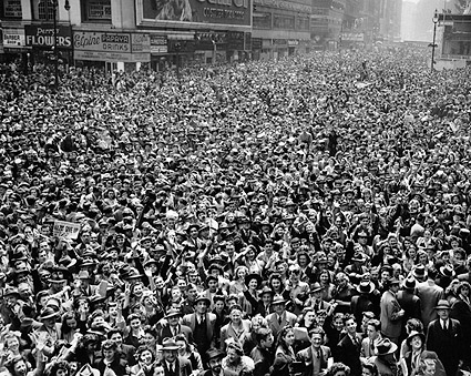 V-E Day Celebration NYC Times Square 1945 WWII Photo Print