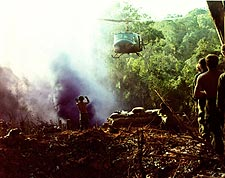 Vietnam War UH-1 Huey Helicopter on Approach Photo Print for Sale