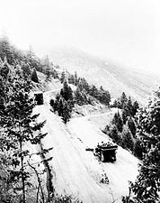 Vintage Autos Snow Mountain Road Colorado Photo Print