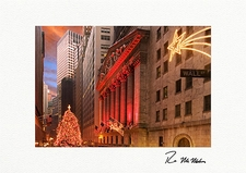 Wall Street New York Stock Exchange Tree Personalized Christmas Cards