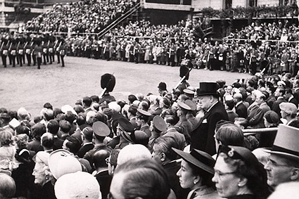 Winston Churchill Candid Among Stadium Crowd Photo Print
