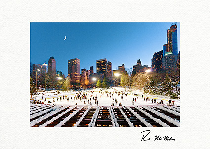 Wollman Rink Ice Skating at Night NYC Personalized Christmas Cards