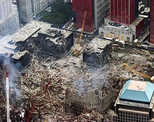 World Trade Center Destruction Aerial View 9/11 Photo Print for Sale