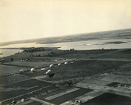 WWI Observation Balloons and Airship at Military Base Photo Print