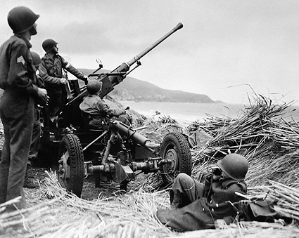 WWII American Soldiers with Anti-Aircraft Gun in Algeria Photo Print