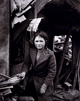 WWII English Girl Among Ruins w/ Union Jack Flag Photo Print