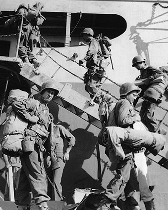 WWII US Soldiers Boarding Ship to France Photo Print