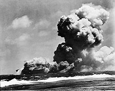 WWII USS Wasp After Torpedo Hits Photo Print for Sale
