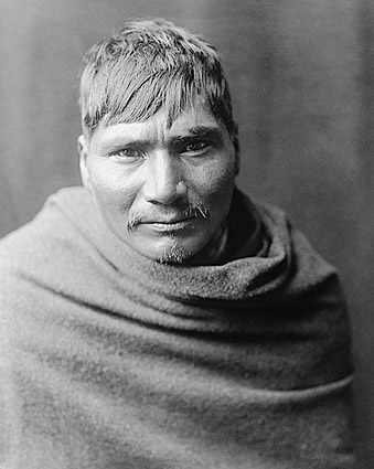 Yaqui Indian Man, Edward S. Curtis Portrait Photo Print