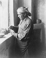 Zuni Indian Bead Worker Edward S. Curtis Photo Print for Sale