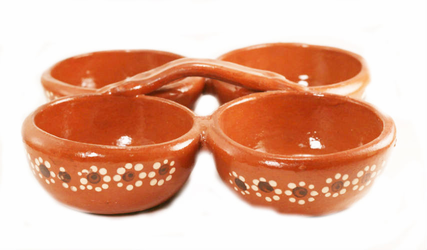 Four Bowl Clay Salsa Server
