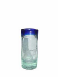 Hand Blown Tequila Shot Glass with Blue Trim from Mexico