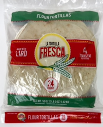 "La Tortilla Fresca Flour Tortillas Fajitas 8"" with LARD (Pack of 2)"