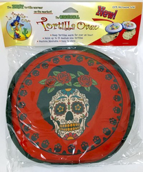 La Tortilla Oven Fabric Tortilla Warmer - Skull Calavera Red Color