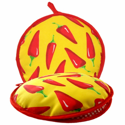 La Tortilla Oven Yellow with Red Chili Peppers Fabric Tortilla Warmer