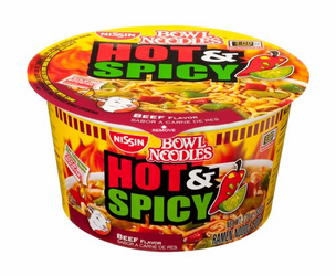 Nissin Bowl Noodles Hot & Spicy Beef Flavor (Pack of 2)