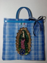 Our Lady of Guadalupe Handbag with Small Handle - Blue