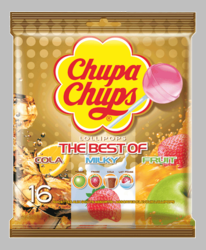 Chupa Chups The Best of Cream Cola Fruit Lollipops Gold Bag (Pack of 3)