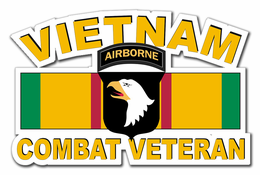 101st Airborne Vietnam Combat Veteran with Ribbon Decal