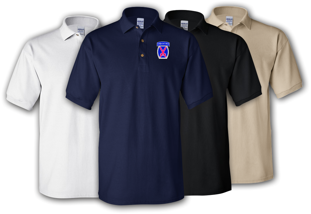 10th Mountain Division Embroidered Cotton Polo Shirt -3600 8mDAr