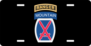 10th Mountain Division with Ranger Tab License Plate