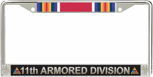 11th Armored Division WW2 Veteran Service Ribbon License Plate Frame