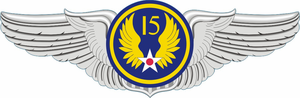 15th Air Force Pilot Wings Decal
