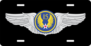 15th Air Force Pilot Wings License Plate